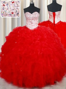 Sweetheart Sleeveless Lace Up 15 Quinceanera Dress Red Tulle