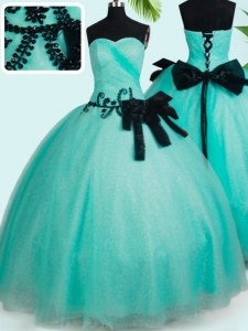 Admirable Turquoise Sleeveless Beading and Bowknot Floor Length 15th Birthday Dress