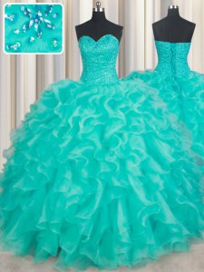 Adorable Floor Length Lace Up Quince Ball Gowns Turquoise for Military Ball and Sweet 16 and Quinceanera with Beading and Ruffles