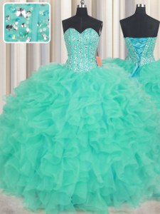 Turquoise Sweet 16 Dress Military Ball and Sweet 16 and Quinceanera and For with Beading and Ruffles Sweetheart Sleeveless Lace Up