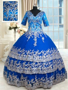 Custom Made Royal Blue Zipper V-neck Beading and Lace and Ruffled Layers Quinceanera Dress Satin Half Sleeves