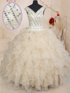 Sequins Floor Length Champagne Sweet 16 Quinceanera Dress V-neck Cap Sleeves Zipper