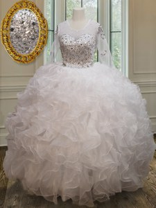 Perfect Scoop See Through Floor Length White Ball Gown Prom Dress Organza Long Sleeves Beading and Ruffles