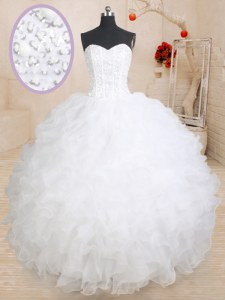 New Arrival White Organza Lace Up Sweet 16 Quinceanera Dress Sleeveless Floor Length Beading and Ruffles