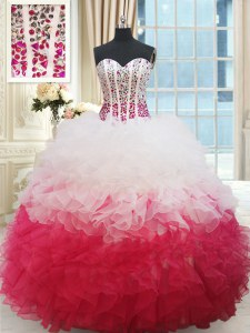 Beauteous White and Red Ball Gowns Sweetheart Sleeveless Organza Floor Length Lace Up Beading and Ruffles Quinceanera Gown