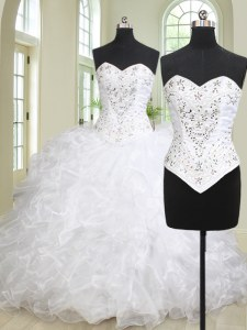 Hot Sale White Sweetheart Lace Up Beading and Ruffles 15th Birthday Dress Brush Train Sleeveless