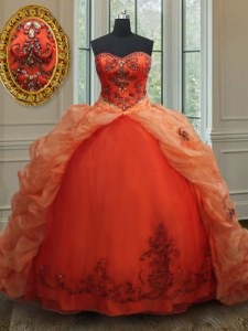 Pick Ups With Train Ball Gowns Sleeveless Orange Red Ball Gown Prom Dress Brush Train Lace Up