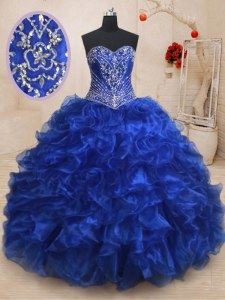 Royal Blue Sleeveless With Train Beading and Ruffles Lace Up 15th Birthday Dress