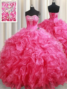 Hot Pink Ball Gowns Sweetheart Sleeveless Organza With Brush Train Lace Up Beading and Ruffles Sweet 16 Dress
