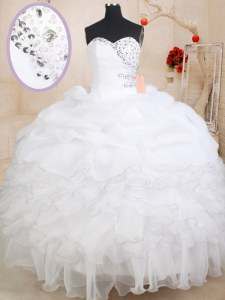 White Zipper 15 Quinceanera Dress Beading and Ruffles and Pick Ups Sleeveless Floor Length