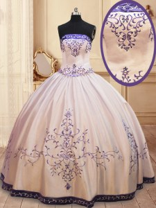 White Sleeveless Floor Length Beading and Embroidery Zipper Vestidos de Quinceanera