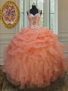 Orange Straps Zipper Beading and Ruffles and Pick Ups Quinceanera Gowns Sleeveless