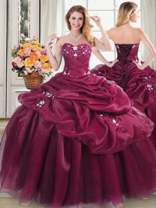 Sweetheart Sleeveless Organza Sweet 16 Dresses Appliques and Pick Ups Lace Up