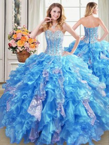 Organza Sleeveless Floor Length Sweet 16 Quinceanera Dress and Beading and Ruffles and Sequins