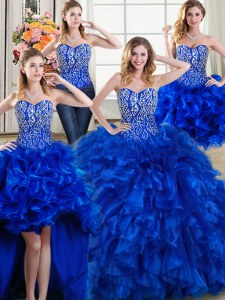 Flare Four Piece Organza Sweetheart Sleeveless Brush Train Lace Up Beading and Ruffles Sweet 16 Quinceanera Dress in Royal Blue