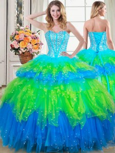 Ruffled Floor Length Ball Gowns Sleeveless Multi-color 15th Birthday Dress Lace Up
