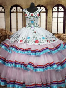 Straps Sleeveless Organza and Taffeta Sweet 16 Quinceanera Dress Embroidery and Ruffled Layers Lace Up
