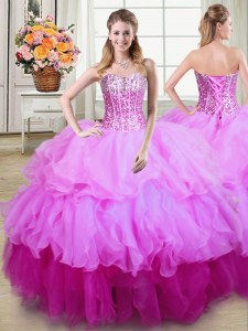 Pretty Sleeveless Floor Length Ruffles and Sequins Lace Up Quince Ball Gowns with Multi-color