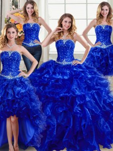 Four Piece Floor Length Ball Gowns Sleeveless Royal Blue Quinceanera Dresses Lace Up