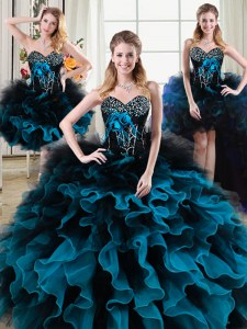 High Quality Four Piece Beading and Ruffles and Hand Made Flower Quinceanera Dresses Black and Blue Lace Up Sleeveless Floor Length