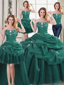 Lovely Four Piece Organza Sleeveless Floor Length Quince Ball Gowns and Beading and Ruffles and Pick Ups