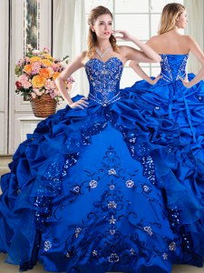 Organza and Taffeta Sweetheart Sleeveless Lace Up Beading and Embroidery and Pick Ups 15 Quinceanera Dress in Royal Blue