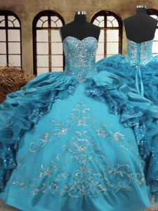 Teal Sweetheart Lace Up Beading and Embroidery and Ruffles Quince Ball Gowns Sleeveless