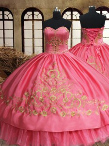 High Class Pink Ball Gowns Beading and Embroidery Quince Ball Gowns Lace Up Organza and Taffeta Sleeveless Floor Length
