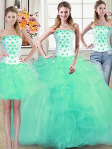 Three Piece Floor Length Ball Gowns Sleeveless Turquoise 15 Quinceanera Dress Lace Up