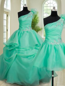 Three Piece Turquoise One Shoulder Neckline Beading and Hand Made Flower Quince Ball Gowns Sleeveless Lace Up