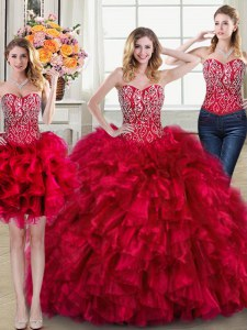 Three Piece Sleeveless Beading and Ruffles Lace Up Sweet 16 Dresses with Red Brush Train