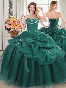 Pretty Floor Length Dark Green Quinceanera Dress Organza Sleeveless Beading and Appliques and Pick Ups