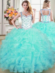 Custom Design Aqua Blue Straps Lace Up Beading and Lace and Ruffles Quinceanera Gown Sleeveless