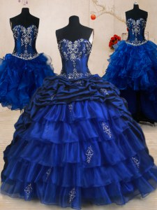 Four Piece Royal Blue Ball Gowns Organza and Taffeta Sweetheart Sleeveless Beading and Ruffled Layers and Pick Ups With Train Lace Up 15th Birthday Dress Brush Train