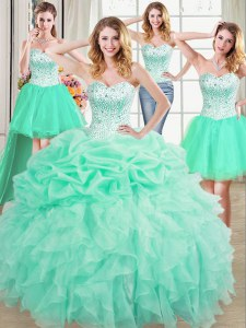 Four Piece Beading and Ruffles and Pick Ups 15 Quinceanera Dress Apple Green Lace Up Sleeveless Floor Length