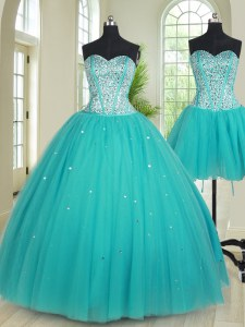 Wonderful Three Piece Sweetheart Sleeveless Lace Up Quinceanera Dresses Aqua Blue Tulle