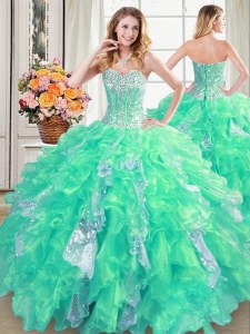 Turquoise Sweetheart Neckline Beading and Ruffles and Sequins Quinceanera Dresses Sleeveless Lace Up