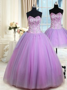 Three Piece Sweetheart Sleeveless Tulle Sweet 16 Dresses Beading Lace Up