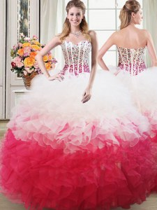 Custom Design Organza Sweetheart Sleeveless Lace Up Beading and Ruffles 15th Birthday Dress in Pink And White
