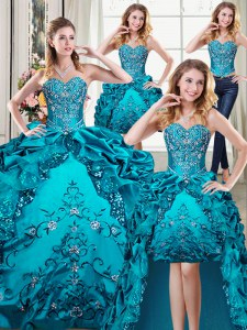 Four Piece Teal Ball Gowns Beading and Embroidery and Pick Ups Sweet 16 Quinceanera Dress Lace Up Organza and Taffeta Sleeveless Floor Length