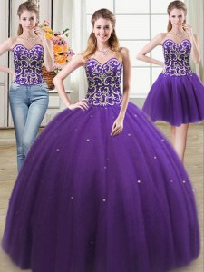 Three Piece Sleeveless Floor Length Beading Lace Up Quinceanera Gown with Purple
