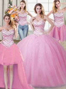 Fancy Four Piece Rose Pink Ball Gowns Beading Ball Gown Prom Dress Lace Up Tulle Sleeveless Floor Length