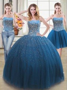 Low Price Three Piece Teal Sweet 16 Dresses Military Ball and Sweet 16 and Quinceanera and For with Beading Sweetheart Sleeveless Lace Up