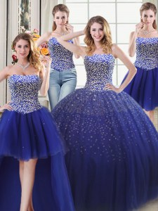 Best Four Piece Sweetheart Sleeveless Lace Up Quinceanera Dresses Royal Blue Tulle