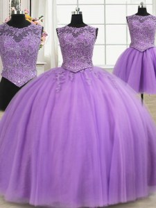 Superior Three Piece Lilac Ball Gowns Tulle Scoop Sleeveless Beading and Appliques Floor Length Lace Up Quinceanera Dresses
