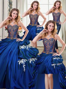 Four Piece Sleeveless Floor Length Beading and Appliques and Pick Ups Lace Up 15th Birthday Dress with Royal Blue