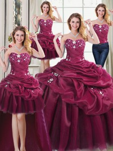 Adorable Four Piece Floor Length Lace Up Sweet 16 Dress Burgundy for Military Ball and Sweet 16 and Quinceanera with Beading and Appliques and Pick Ups