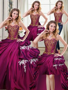Beautiful Four Piece Burgundy Taffeta Lace Up Sweetheart Sleeveless Floor Length Sweet 16 Dresses Beading and Appliques and Pick Ups