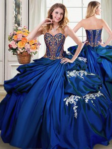 Pick Ups Floor Length Royal Blue Quinceanera Dress Sweetheart Sleeveless Lace Up