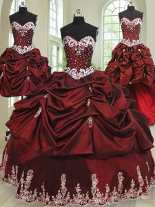 Sexy Four Piece Floor Length Wine Red Sweet 16 Dress Taffeta Sleeveless Beading and Appliques and Pick Ups